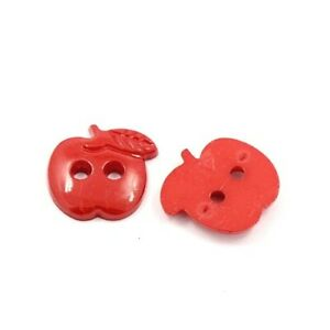 Acrylic Buttons Red Apple 22mm 2-Hole Pack Of 25