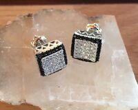 18K W Gold Finish 0/25 ct. VS2 Diamond Micro Pave Set Screw Back Stud Earrings