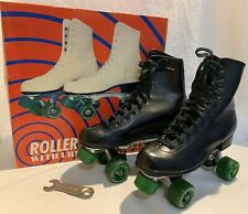 Vintage Roller Derby Rink Skates Black Urethane Green Wheels Orig. Box Mens Sz 8