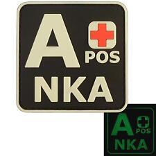 A+ APOS NKA PVC 3D GITD Glow Dark blood type morale tactical hook patch