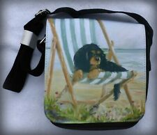 CAVALIER KING CHARLES SPANIEL SHOULDER BAG SATIN FEEL FABRIC SANDRA COEN ARTIST