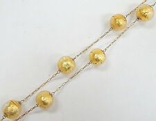 """Estate 20"""" 14K Yellow Gold Chain Necklace w/ Gold Foil Crackle Glass Beads"""