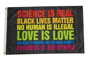 Science Is Real Black Lives Matter BLM Love Rainbow Pride 3x5 Feet Banner Flag