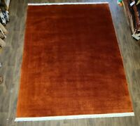 Antique handwoven authentic Chinese rug size 9'x12' traditional  Rust salmon