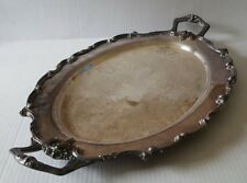 Antique Or Vintage Amston Fine Silverplate Ornate Tea Service Footed Tray 1738