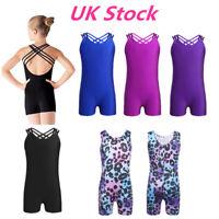 Kid Girls One Piece Ballet Dance Leotard Gymnastics Unitard Jumpsuit UK Supplier
