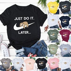 Damen Hemd Frauen Lose Tee Sweatshirt Basic Gedruckt Bluse Faultier Oberteile