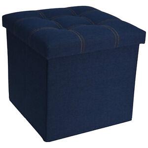 Hocker mit Deckel Stauraumhocker Jeansblau 38x38x38cm Sitzhocker Sitzwürfel Box