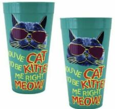 2 Collectible Tumbler Cup Gift Set Green You've Cat To Be Kitten Me Right Meow