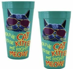 4X Collectible Tumbler Cup Gift Set Green You've Cat To Be Kitten Me Right Meow