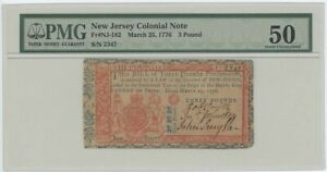 1776 March 25 3 P New Jersey Colonial FR#NJ-182 PMG 50 About UNC