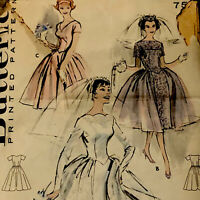 BUTTERICK 8704 Wedding Evening Dress Gown Pattern 60s Sz 12 Bust 32