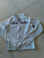 Abecrombie & Fitch White Zip Front Sweat Shirt Abecrombie logo Inblack Size Y XL