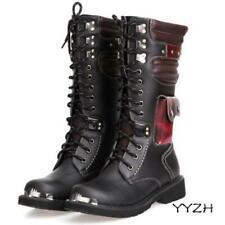 Mens Rock Black Cowboy Buckle Metallic Combat Knee High Miltary Boots Punk Shoes