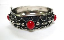 VINTAGE RED/CORAL CABOCHON STONES in SILVER BLACK DETAILED BANGLE CUFF BRACELET