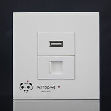 Wall Plate 2 Ports RJ45 Network LAN + USB Wall Socket Outlet  Panel Faceplate