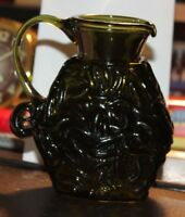 "Vintage Pilgrim Emerald Green Glass Rippled Design  Small 4 1/2"" Pitcher/Creamer"