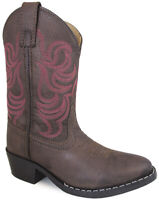 Smoky Mountain Girls Monterey Western Cowboy Boots Embroidery Leather Brown/Pink