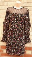 NEW LOOK  BLACK MULTI COLOUR FLORAL LACE SEQUIN FRILL LONG SLEEVE SHIFT DRESS 8
