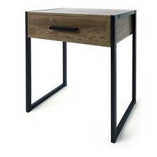 Industrial Rustic Side Bedside Table Drawer Black and Brown Metal Legs
