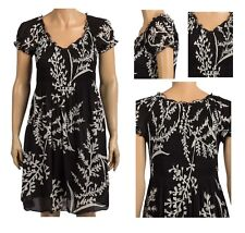 New Ladies Cap Sleeve Printed Chiffon Dress Sunny Leigh Shirred top Fit & Flare