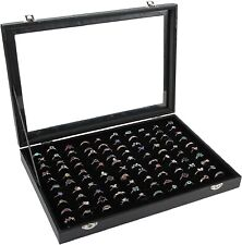 Ring Organizer Box 100 Slots Storage Display Case Tray Holder  PU Leather Black