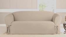 NEW Cotton Duck One Piece Loveseat Slipcover linen tan beige sure fit washable