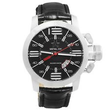 Metal.CH Chronometrie Initial Mens Swiss Made Black Leather Watch 1120.44