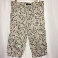 Nine West  sz 12/waist 30 Khaki Tan Floral Womens Crop Jeans Pants Cuffed