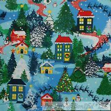 BonEful FABRIC Cotton Quilt VTG Green Xmas Tree Holiday Scenic Winter City SCRAP