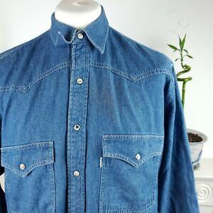 Mens levis strauss denim shirt size XL XXL blue long sleeved batwing logo button