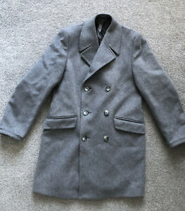 """Vintage Dunn & Co Grey Wool Cashmere Double Breast Over Coat 42"""""""