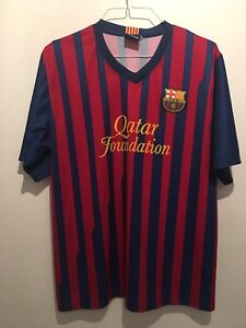 BARCELONA MESSI FOOTBALL TOP RED/BLUE FC CHEST 46 SPORT SUMMER STADIUM GOLF