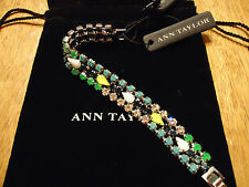 NWT GORGEOUS ANN TAYLOR BRACELET SPARKLY COLORFUL SILVER BEAUTIFUL GIFT! $48