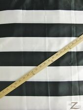 """STRIPED SATIN FABRIC - WHITE/BLACK STRIPES - 60"""" WIDTH - SOLD BTY"""