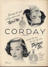 1951 Corday PRINT AD Toujours Moi French Pefume Vintage Bottles Fun Vintage ad