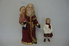 "Ceramic 10"" Old World Santa Claus Holding Girl & Freestanding Ceramic 6 1/4"" Boy"
