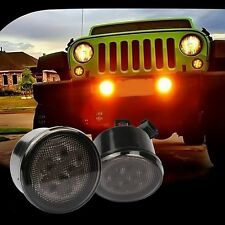 2PCs Amber LED Turn Signal Lights Smoke Lens Front Grill For Jeep Wrangler 07-17