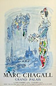 MARC CHAGALL GRAND PALAIS 1969 LITHOGRAPH POSTER BY MOURLOT PRINTING