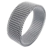 Schmuck Herren-Ring, Damen-Ring, Edelstahl, Flexible Screen Mesh Bandringri V7U4