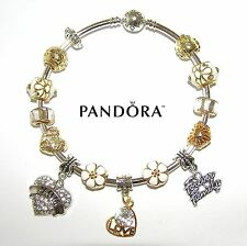 Authentic PANDORA Silver Bangle Bracelet With MOM, Gold & White European Charms
