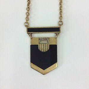 "J.Crew Necklace Gold tone Black Enamel Dangle Rhinestone Long 28"""