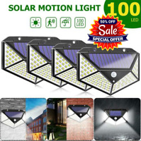 4x 100LED Outdoor Solar Power Wall Light PIR Motion Sensor Garden Security Lamp