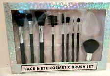 NEW! SIMPLE PLEASURE FACE & EYE COSMETIC BRUSH SET 10pc Black Nylon Brushes