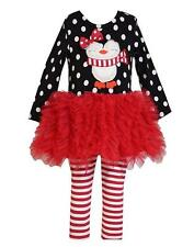 New Girls Bonnie Jean sz 12m Red Black PENGUIN Tutu Outfit Christmas Clothes $55