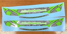 JakeDesigns HELMET VISOR STICKERS/STRIPS in Hot Green & Silver Chrome KARTING