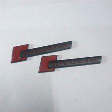 2x Matte Black SUPERCHARGED Red Metal Badge Emblem Sticker Engine s3 a4 3D sline