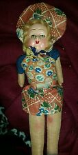 "Antique composite w/cloth body 14"" Doll blond braids"