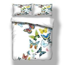 Butterfly White Duvet Cover Set Twin Full Queen King Size Bedding Set Pillowcase