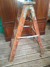Antique Two Sided Bell System Wood Wooden Ladder